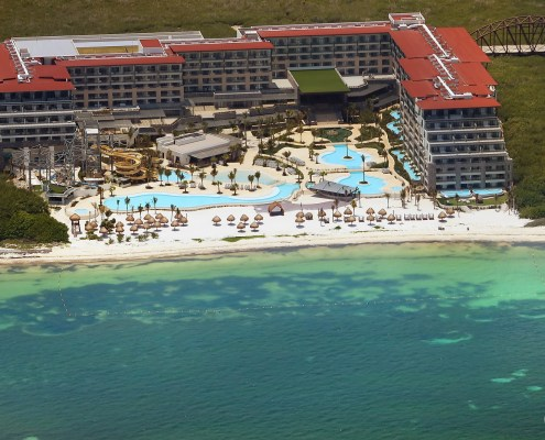 Areal photo of Now Dreams Natura Cancun showing newly finished beach