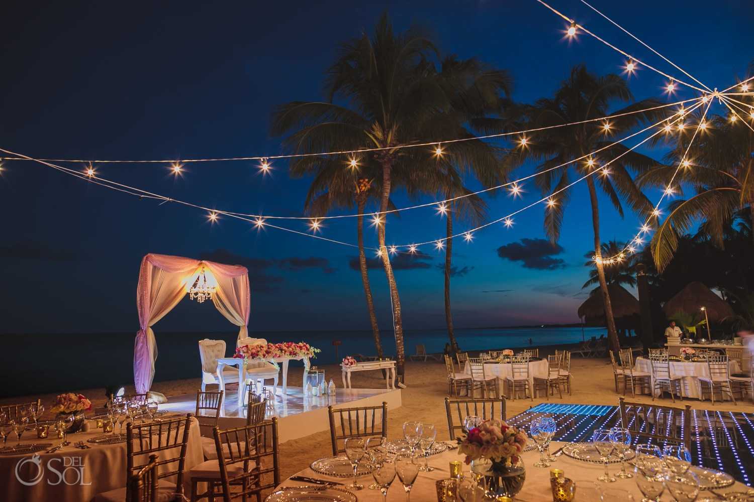 Dreams Tulum central beach Wedding reception set up