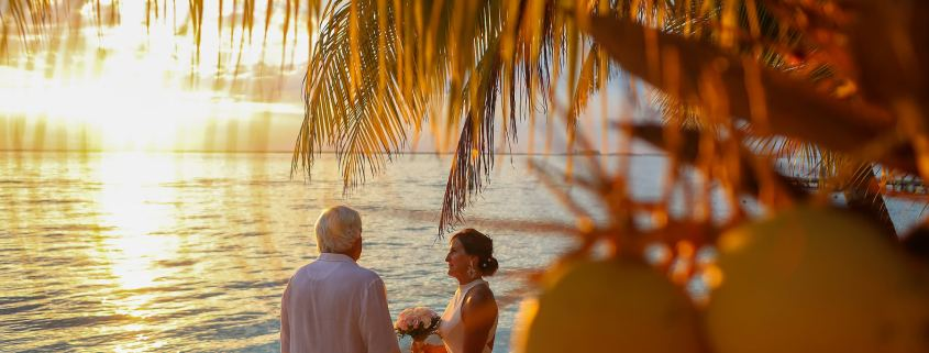 elope in Mexico private villa Isla Mujeres sunset ceremony on the beach