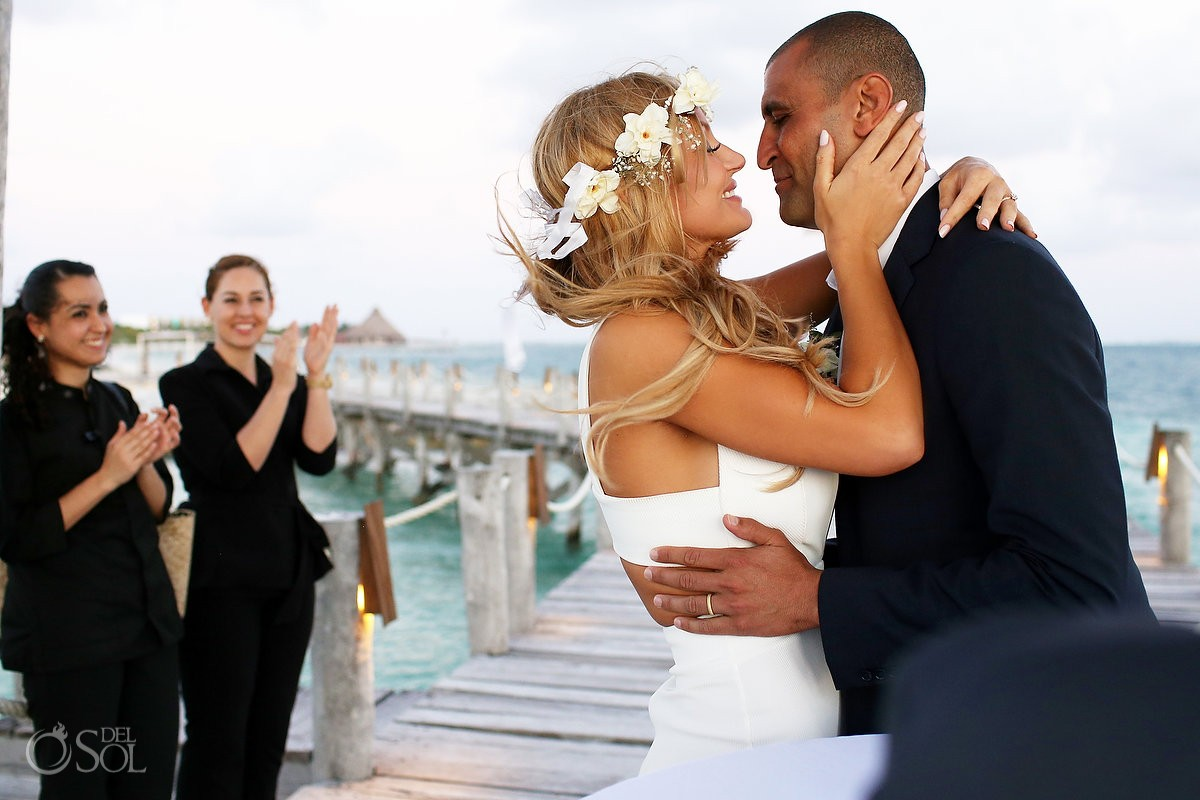 Elopement wedding ceremony on the pier at Nizuc Cancun