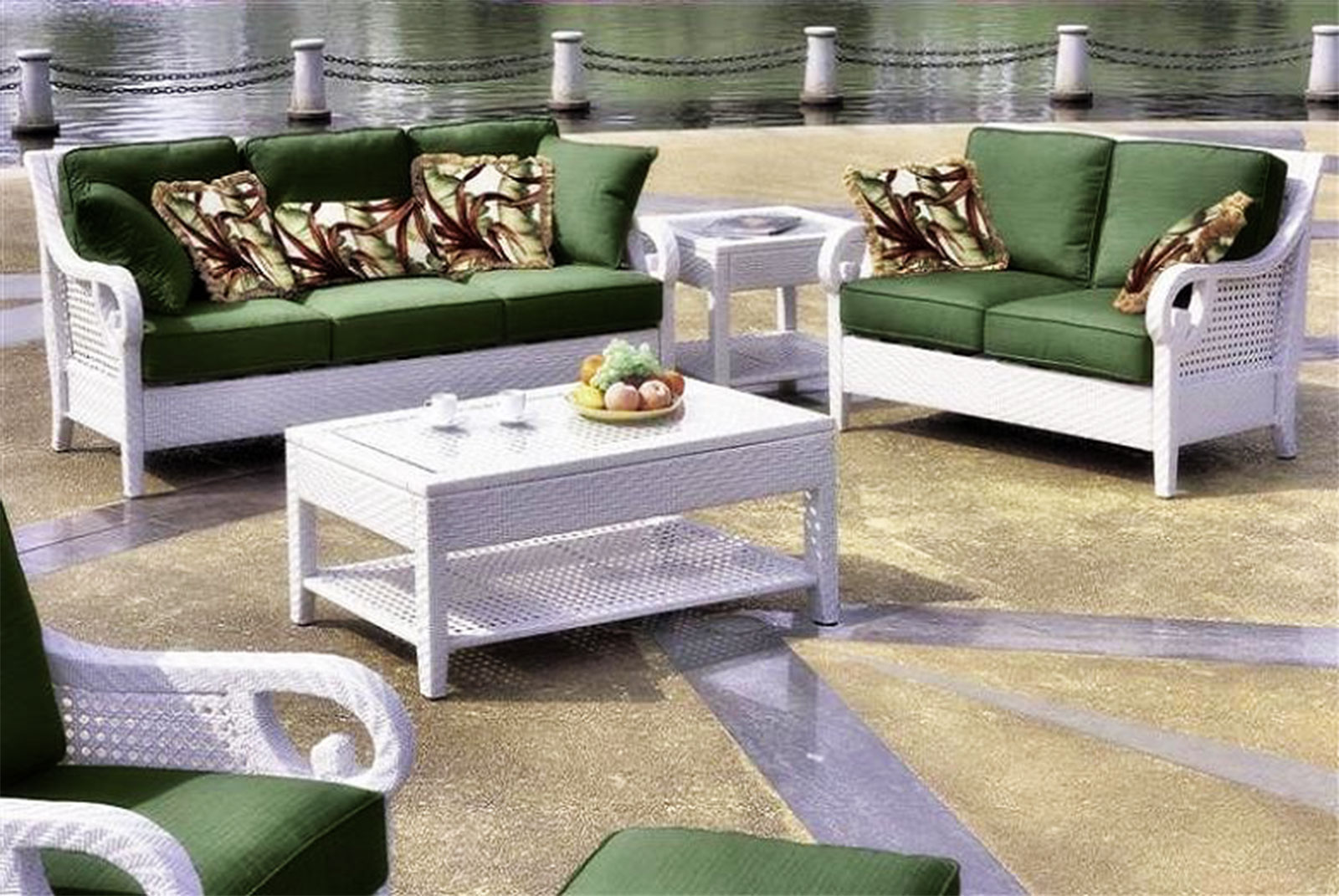 rattan sofa and coffee table kasala barkley striking white green set with