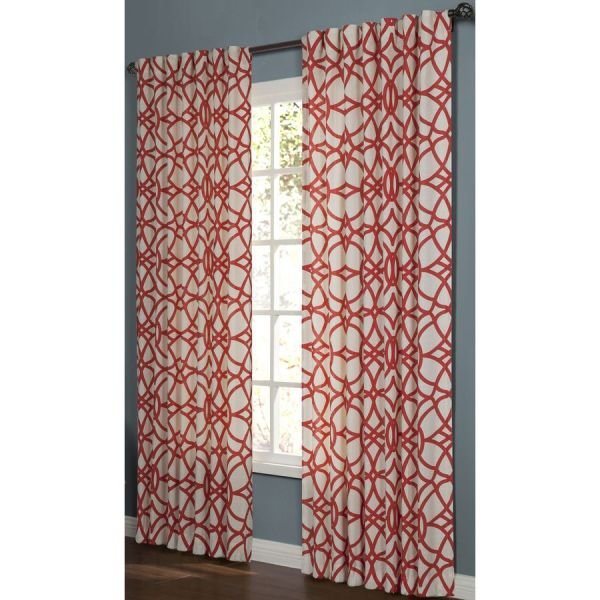 Red Geometric Curtain Panels