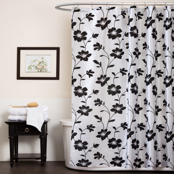 Black White Shower Curtain Furniture Ideas Deltaangelgroup