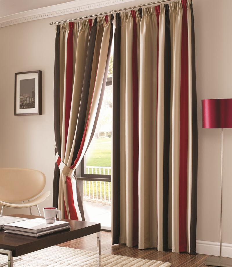 red and brown striped curtains