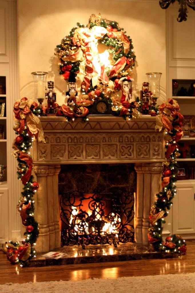 Christmas Decoration On Fireplace