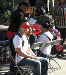 "Students playing the  ""love connection"" in the quad on Feb. 14."