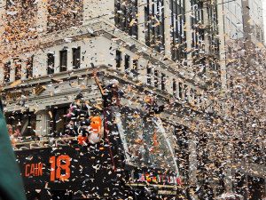 PARTY TIME: Player Matt Cain on a float in San Francisco during the Giants' World Series celebration parade. PHOTO BY MEGAN MAXEY