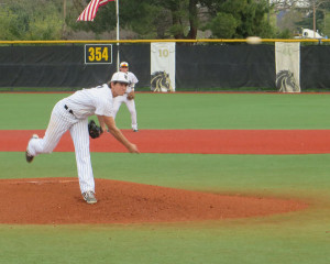 ON THE MOUND: Mustangs' pitcher Dean Kremer pitched five innings, striking out seven vs. Gavilan College on Jan. 27. PHOTO BY ROBERT JUAREZ