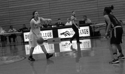 COURTSIDE: Guard Selina Moore running the floor, scoring 12 points during the home game on Feb. 17. PHOTO BY ZACHARIAH MERCES-SPINDLER