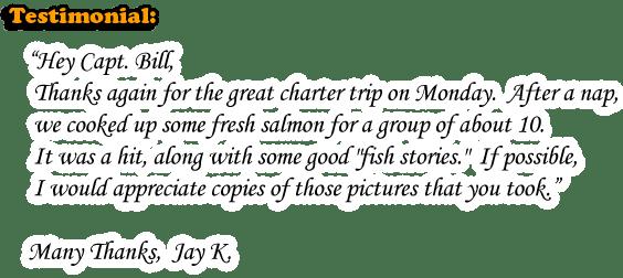 GREAT FISHING CHARTER TRIP! Fresh SALMON - LARGE FISHING GROUPS