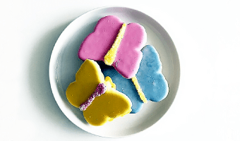 These colorful, butterfly-shaped cookies contain calcium, a vital nutrient that helps keep teeth and bones strong. Teeth love them, too! The cookie batter is low in sugar and the icing sugar-free