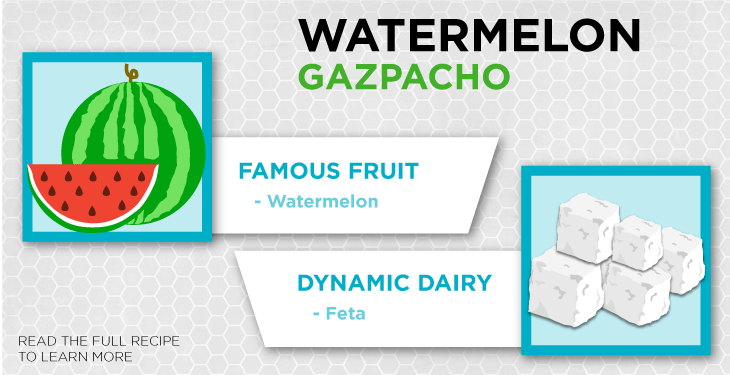 Watermelon packs almost 23 milligrams of vitamin C per serving, while feta is dairy, which is a great source of calcium.]
