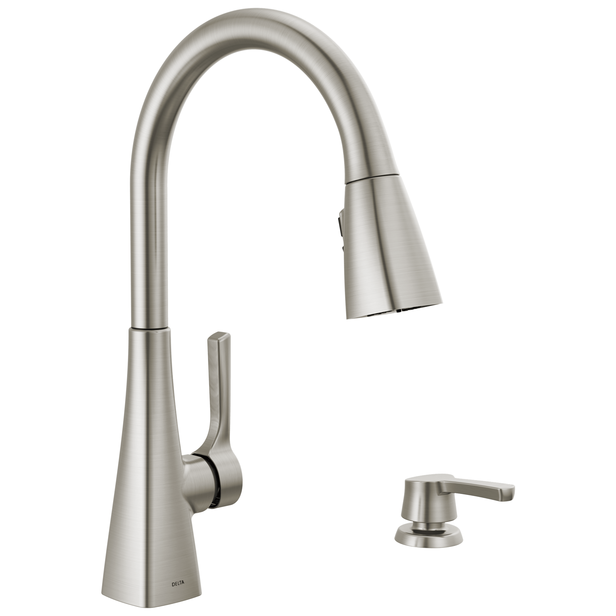 single handle pull down kitchen faucet with soap dispenser and shieldspray technology