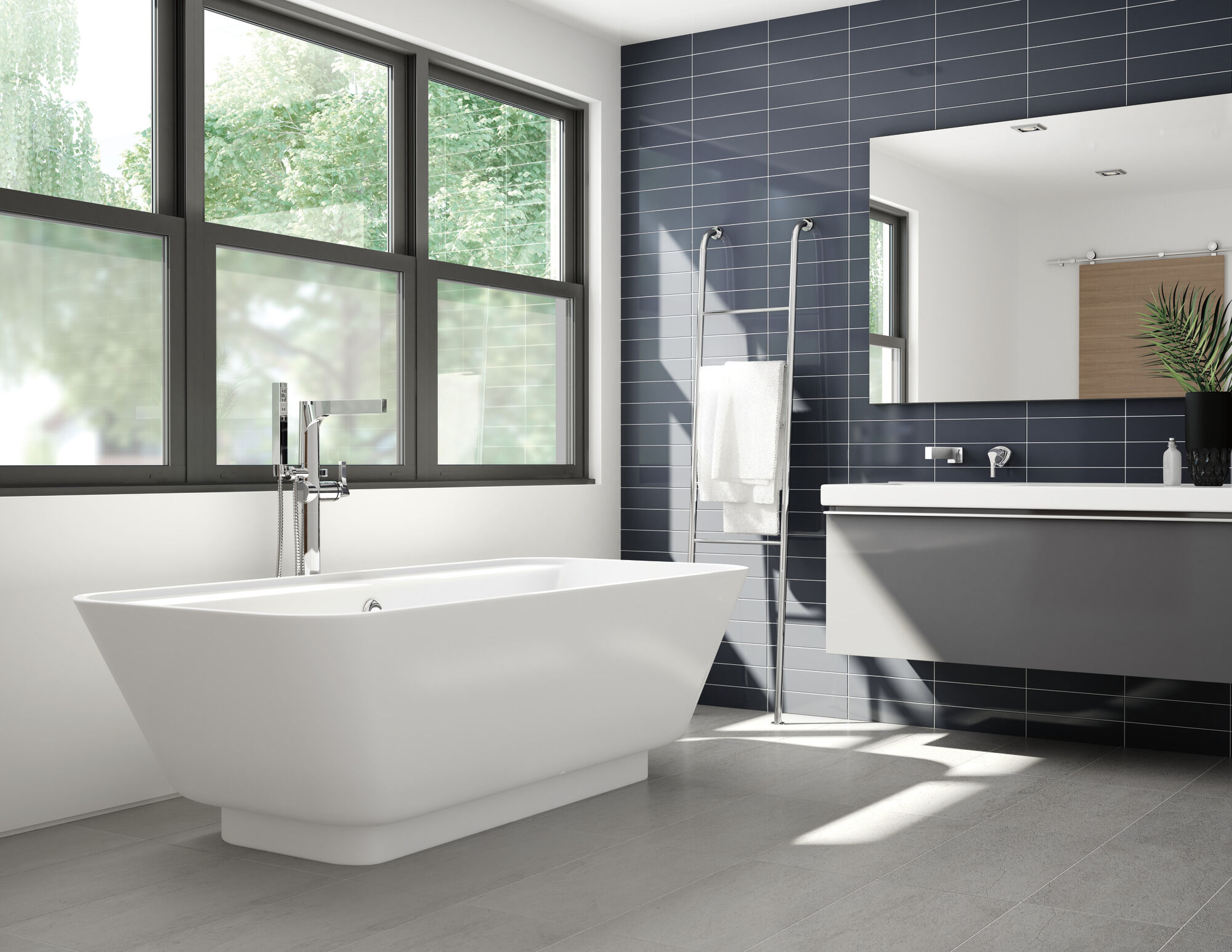 single handle floor mount tub filler trim with hand shower