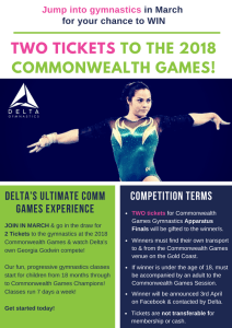 Win tickets to the gymnastics apparatus finals at the Commonwealth Games with Delta Gymnastics