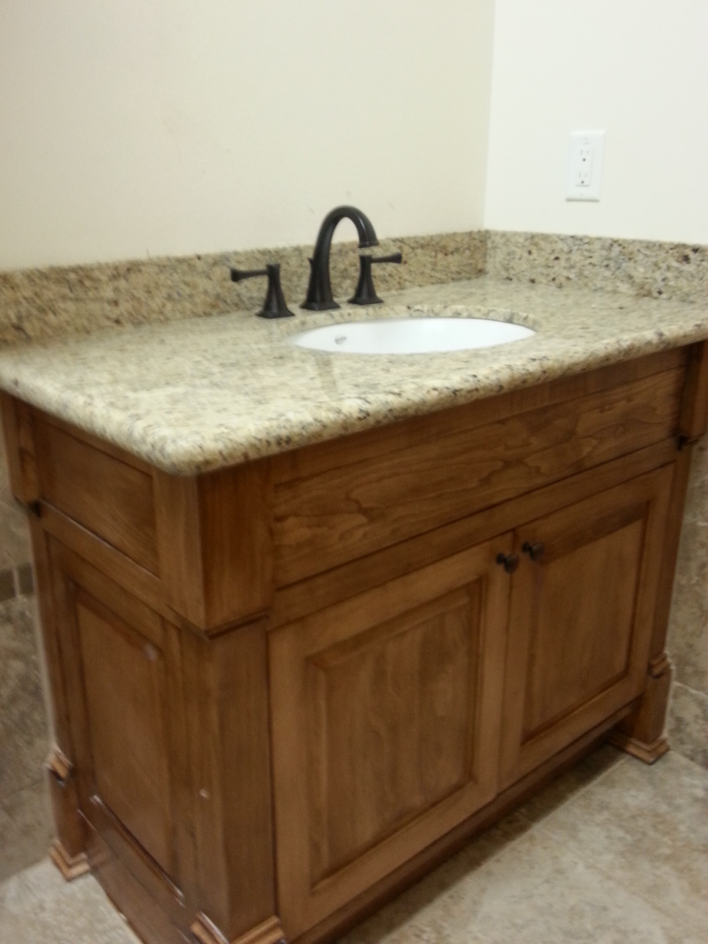 Solid Wood Bathroom Vanity with Marble Countertop  Delta