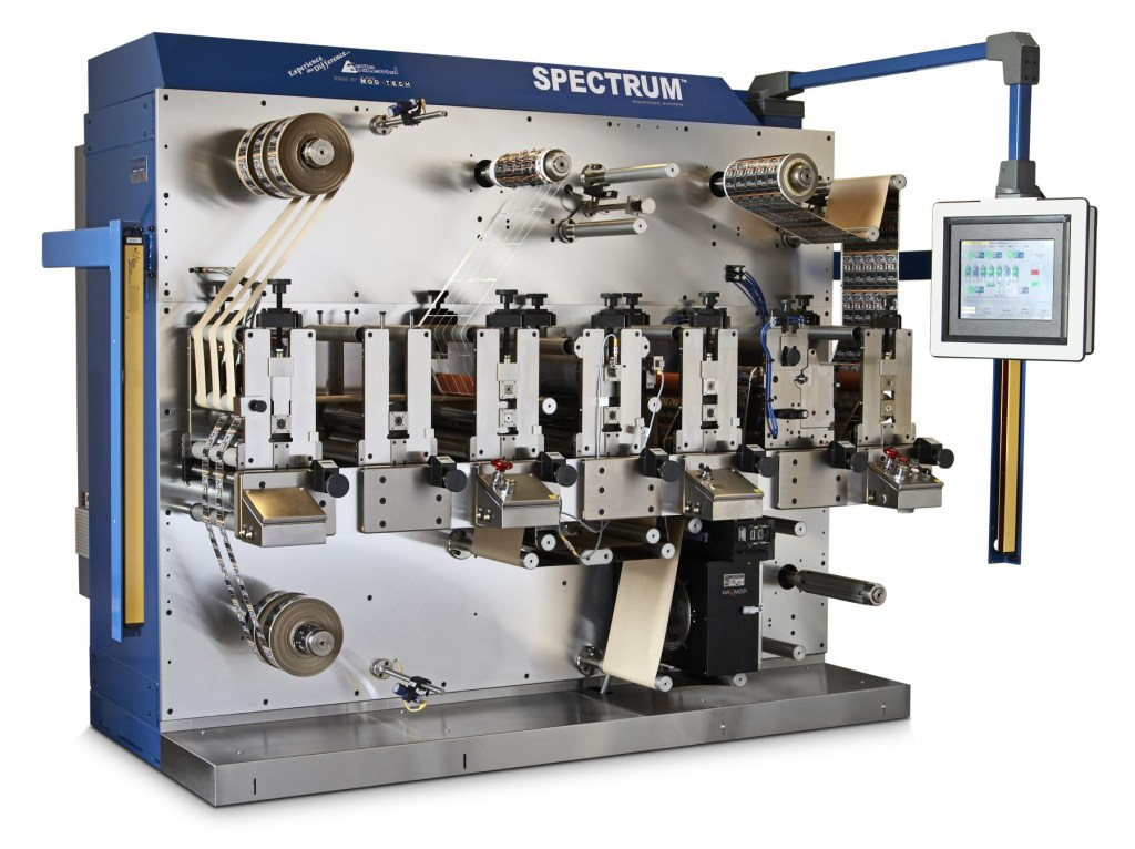 2006 - Delta ModTech offers even more flexibility in 2006 with the addition of the Spectrum Finishing System. The Spectrum is a flexible press that may be used off-line as a finishing line for digitally printed web or inline with an integrated Digital Printer.