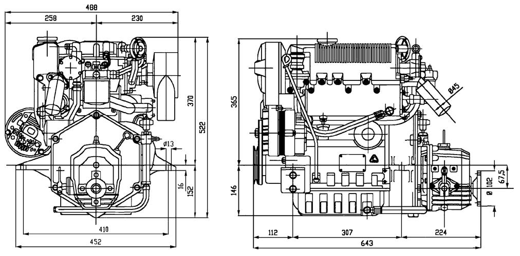 Inboard Lombardini Marine engine LDW 1003M