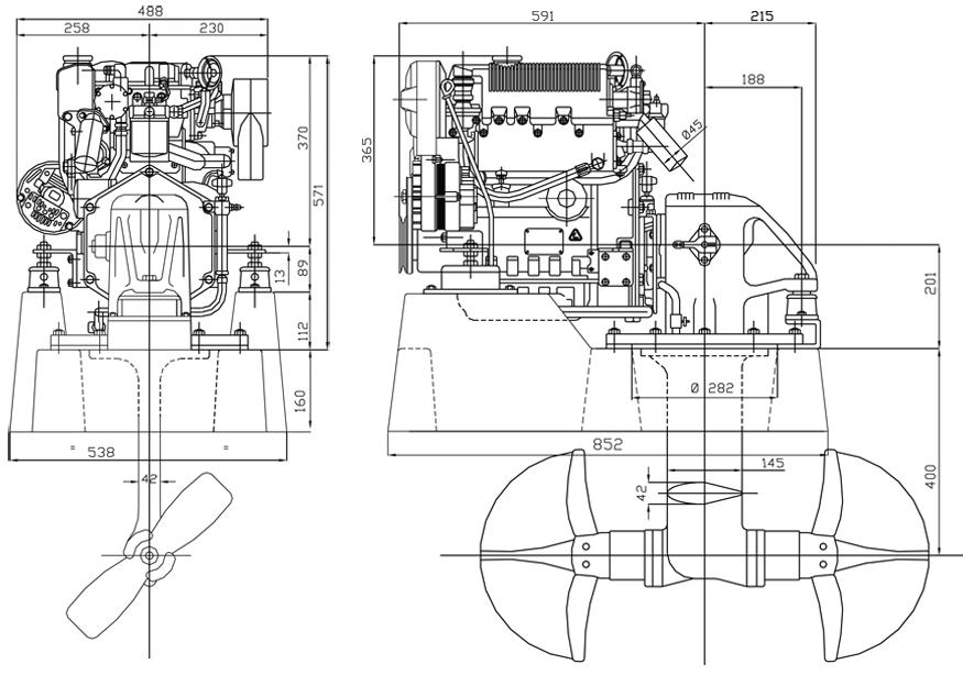 Sail Drive Lombardini Marine engine LDW 1003SD