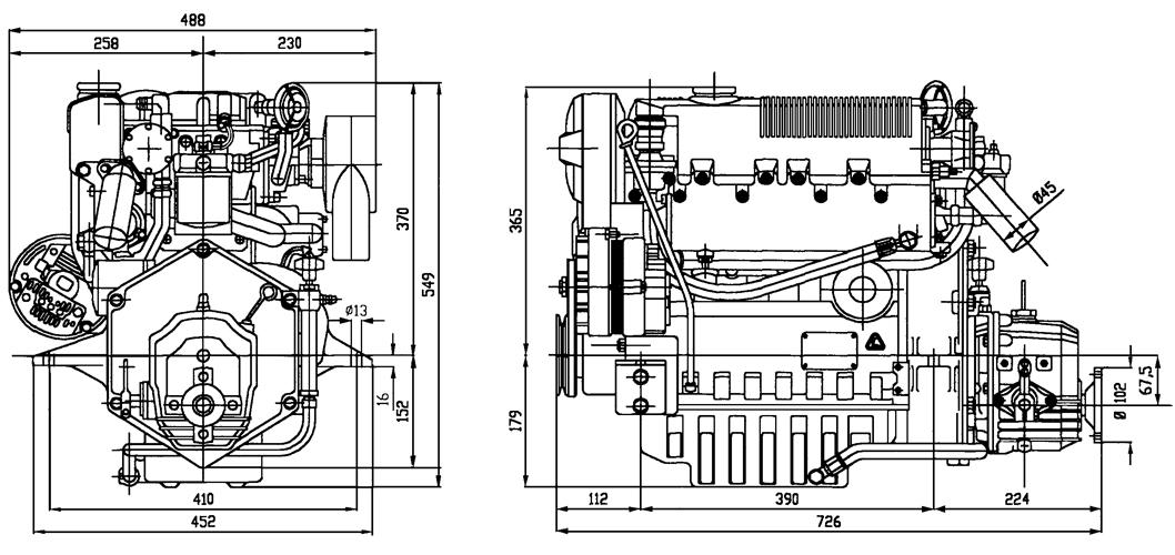 Motore entrobordo Lombardini Marine LDW 1404M