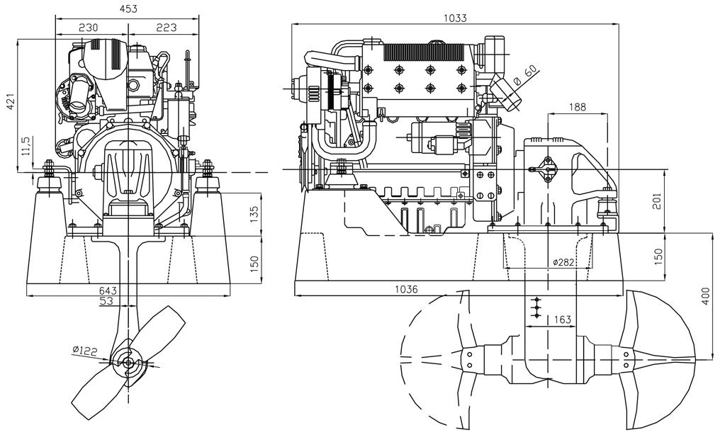 Sail Drive Lombardini Marine engine LDW 1904SD
