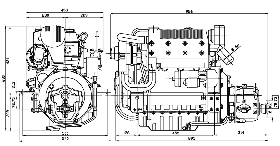 Inboard Lombardini Marine engine LDW 2204M