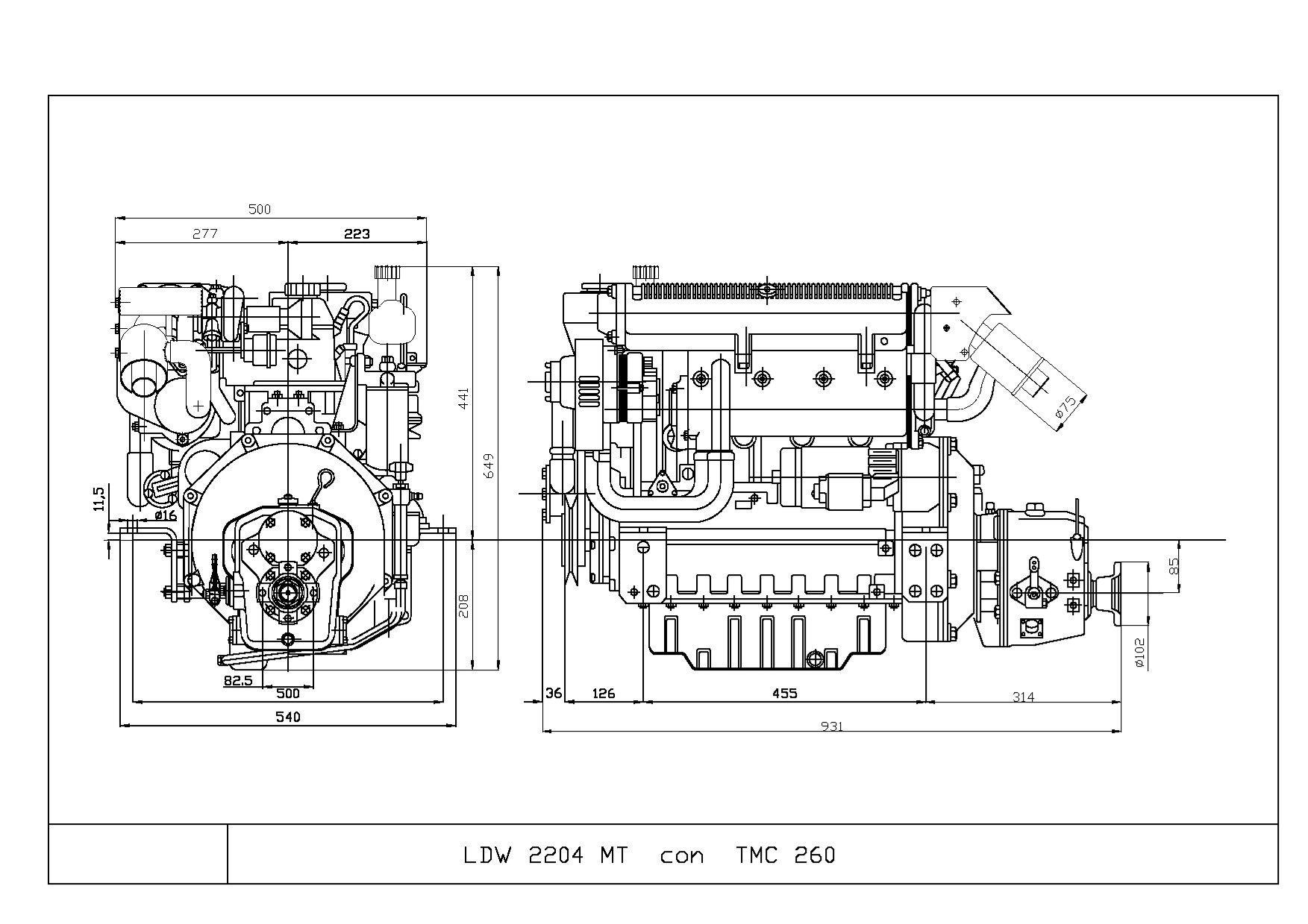 Motore entrobordo Lombardini Marine LDW 2204MT
