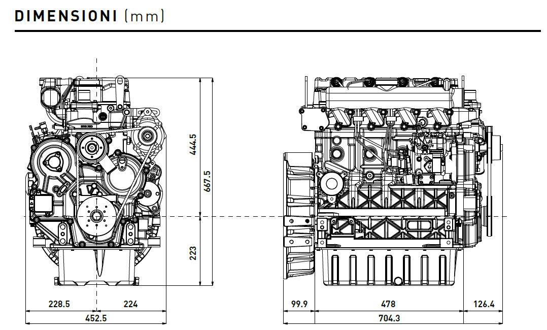Diesel engine Kohler KDI 2504M: liquid-cooled 4 cylinders.