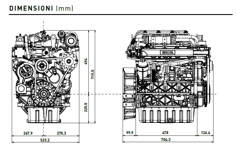 Diesel Kohler engine KDI 2504 TCR: common rail engine