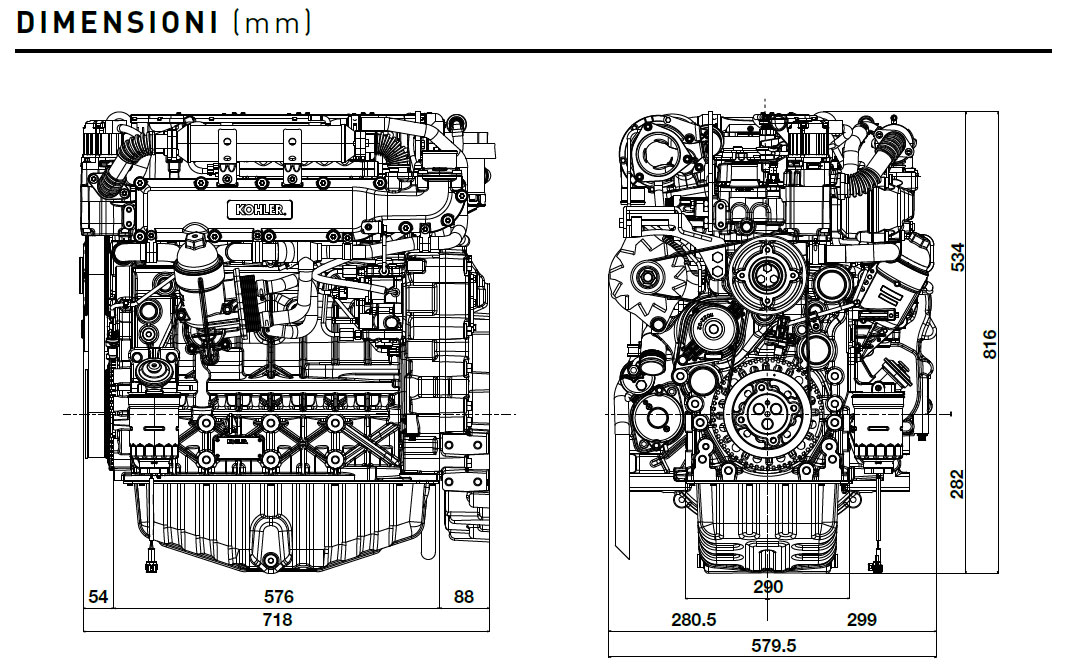 Kohler KDI 3404 TCR-SCR diesel engine: turbo common rail