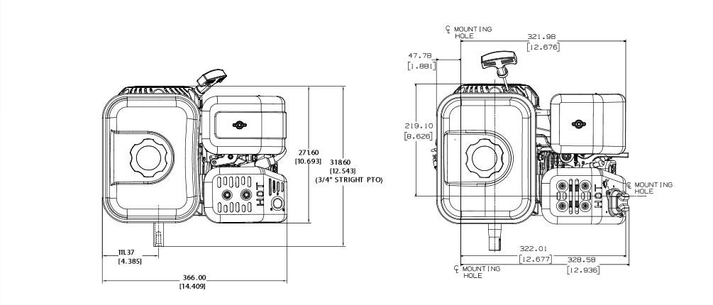 Motore benzina Kohler Courage Small Horizontal SH265