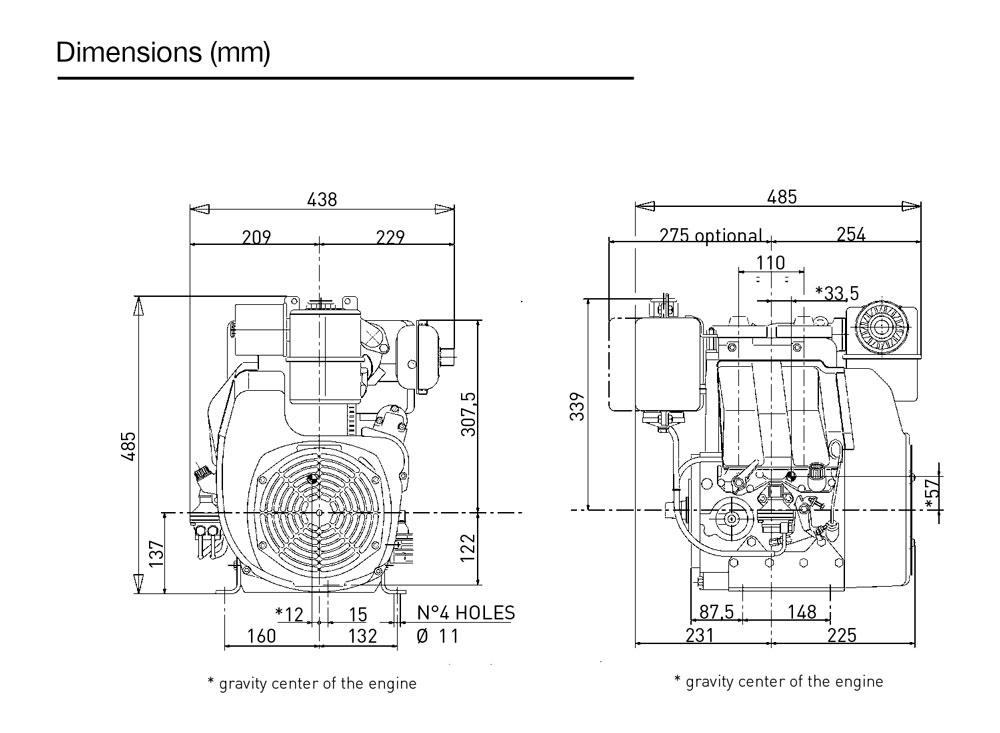 Kohler KD 330/2 diesel engine: air-cooled
