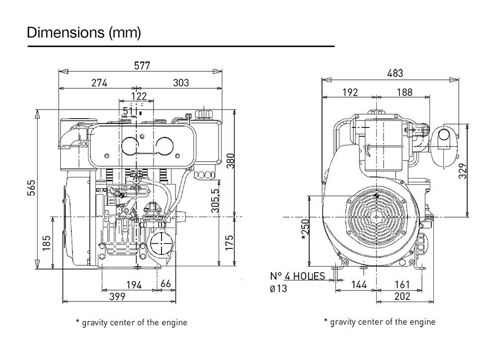 Kohler KD 477/2 diesel engine: air-cooled