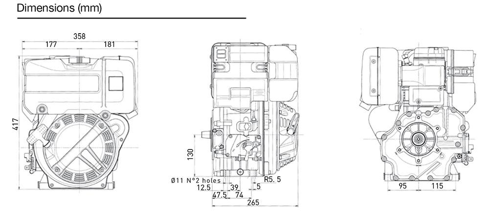 Kohler KD15 225 diesel engine: air-cooled