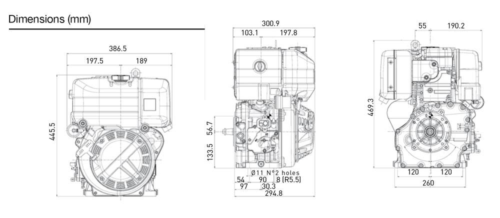 Kohler KD15 350 diesel engine: air-cooled