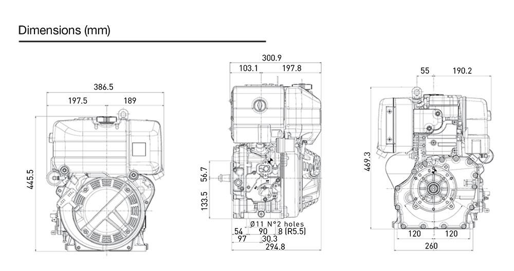 Kohler KD15 350S diesel engine: air-cooled