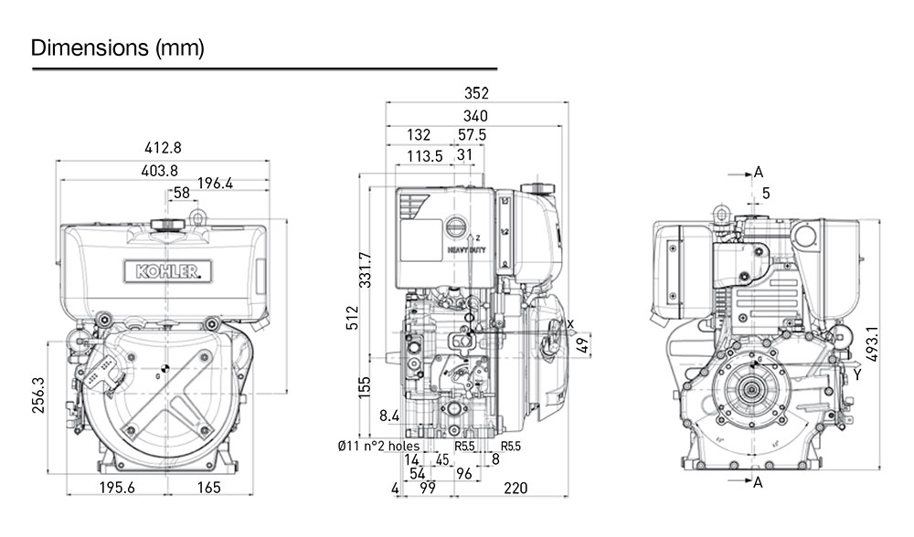 Kohler KD15 440S diesel engine: air-cooled