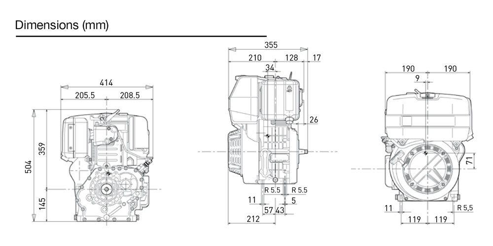 Kohler KD15 500 diesel engine: air-cooled