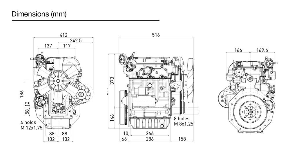 Kohler KDW 1003 diesel engine: liquid-cooled