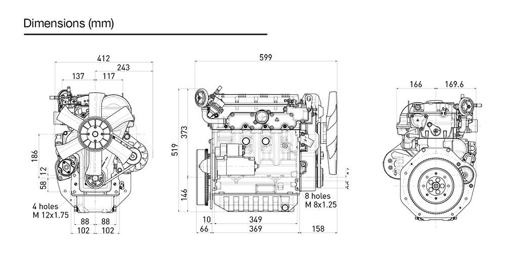 Kohler KDW 1404 diesel engine: liquid-cooled