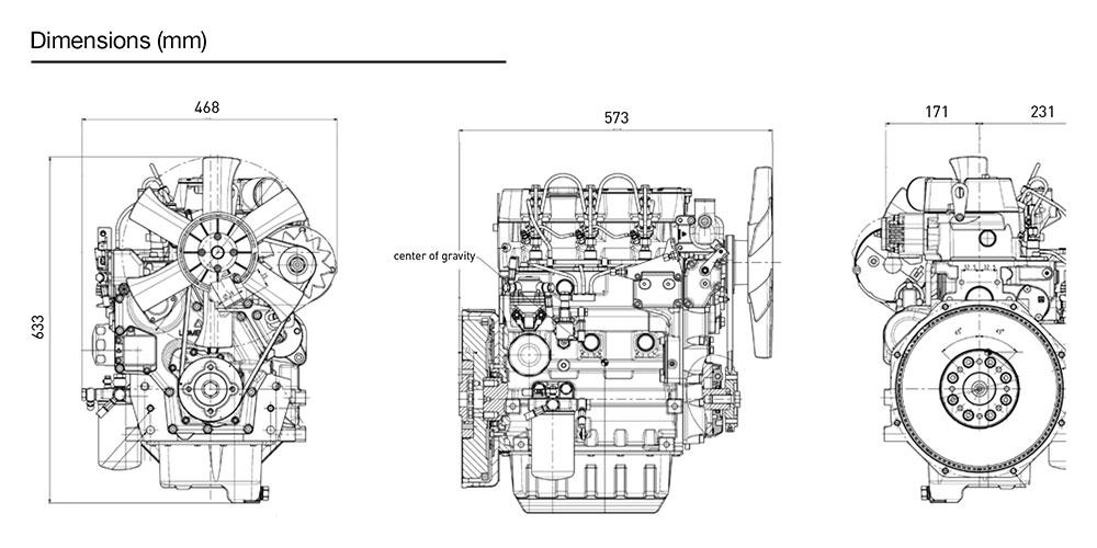 Kohler KDW 1603 diesel engine: liquid-cooled