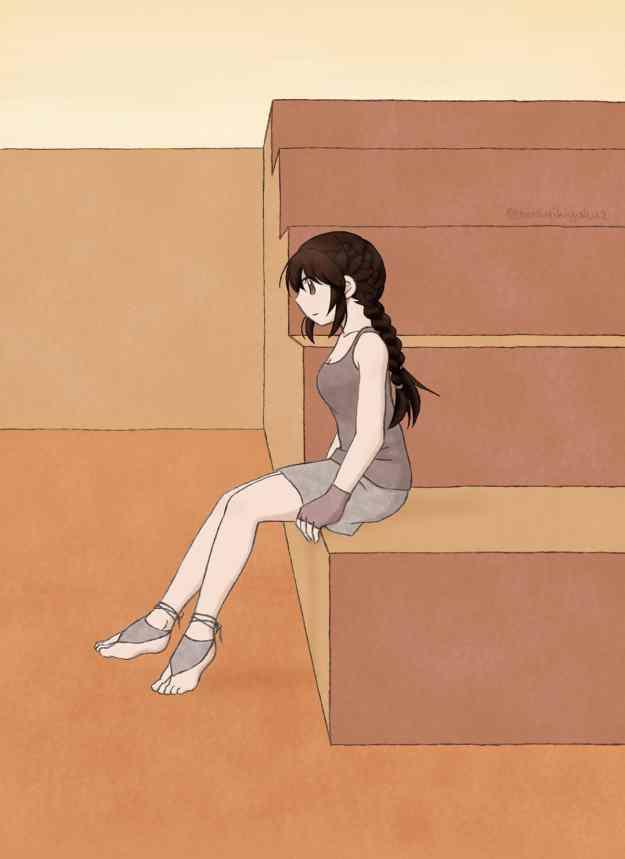 Hiura wearing bear foot sandals