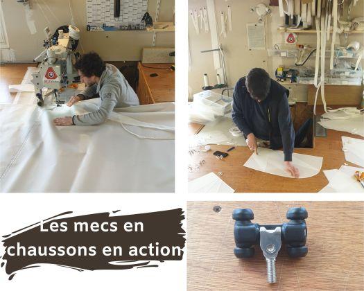 Hugo et François faisant de la couture, de l'assemblage et la préparation des renforts d'un RM 880