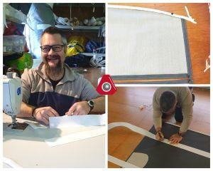 Stéphane fabricant un lazy-bag pour un allure44