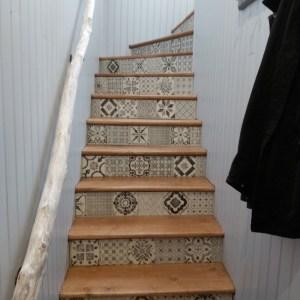 Rampes d'escaliers naturelle et décorative en bois flotté