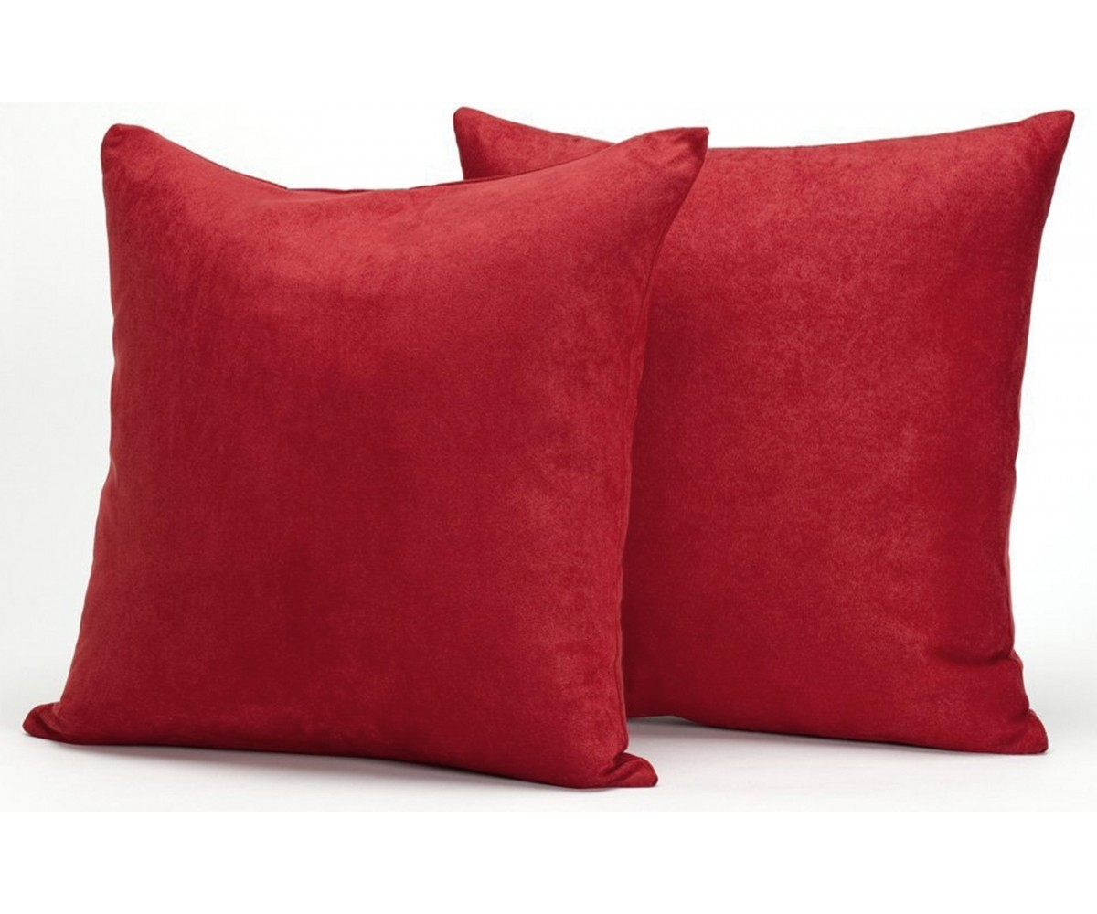 Red Microsuede Couch Pillows  Sets of Two Throw Pillows