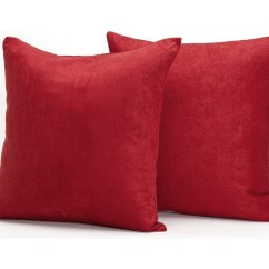Red Accent Pillows For Sofa Murphy Beds Microsuede Couch Sets Of Two Throw