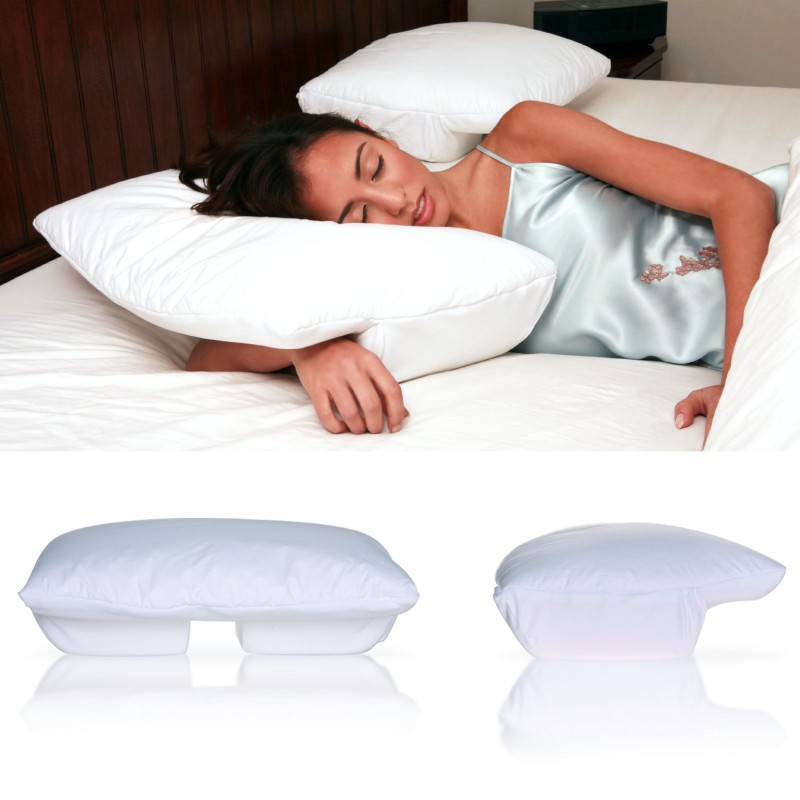 better sleep pillow memory foam 5 5 inch thick foam patented arm tunnel design improves hand and arm circulation neck pain relief perfect side