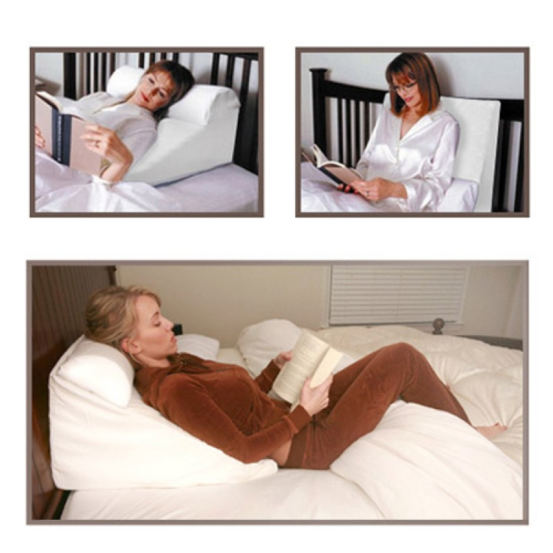 Bed Wedge Support Pillow White  Acid Reflux Wedge