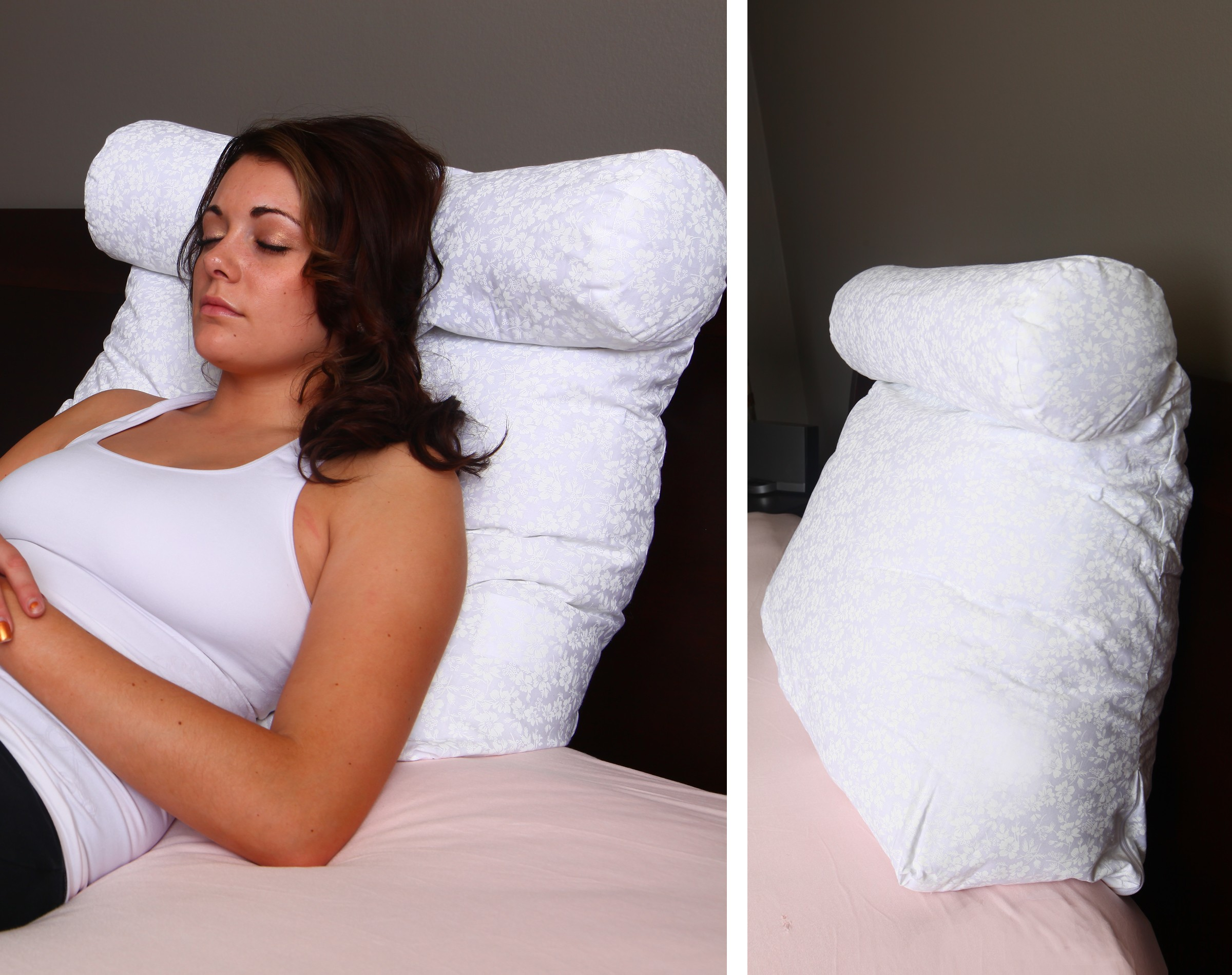 deluxe comfort relax in bed pillow therapeutic back pillow poly fiber foam with built in neck roll reading and bed rest lounger bed pillow